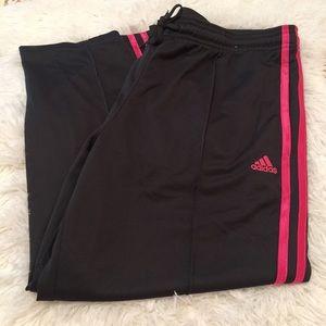 Adidas grey/pink striped capris